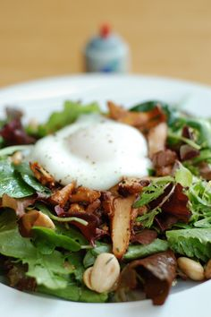— poached egg and chanterelle mushrooms