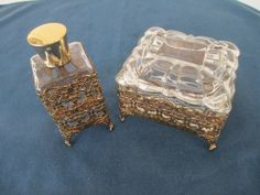 Vintage Gold Filigree Glass Vanity Set With Trinket by BitofHope