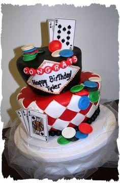 Las Vegas poker gambling cake