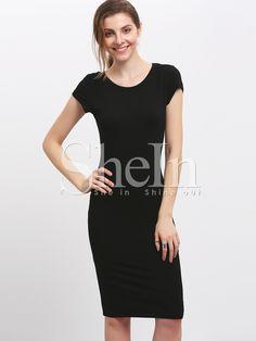 Black Crew Neck Slim Sheath Dress