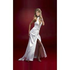 White Sheath Halter Floor-length Dress