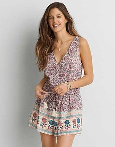 AEO Pattern Sleeveless Wrap Romper , Pink | American Eagle Outfitters