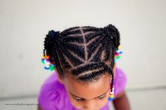 Beads, Braids and Beyond: Little Girls Natural Hair Style: Flat Twist Ponytails with Twisted Bangs & Rainbow Beads Little Girl Braid Styles, Little Girl Braids, Girls Braids, Flat Twist Hairstyles, Natural Hairstyles For Kids, Braided Hairstyles, Nice Hairstyles, Hairdos, Curly Hair Styles