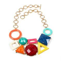 Tic Tac Toe Bib - Multi shape bib necklace