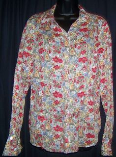 $16.99 + Free Shipping. Coldwater Creek Pink Blue Floral 100% Cotton Long Sleeve Top L