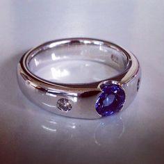 Tanzanite and diamond white gold handmade ring by Custom Jewellery Co