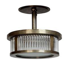 Round Odeon Plafonnier Small MidCentury Modern, Glass, Metal, Flushmount by Collier Webb