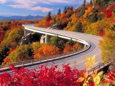 Blue Ridge Parkway in the fall. Did you know: The Blue Ridge Parkway was designed as a recreational motor road, connecting Great Smoky Mountains and Shenandoah National Parks. Big Sur California, Beautiful Roads, Beautiful Places, Amazing Places, Beautiful Pictures, Trees Beautiful, Amazing Photos, Blue Ridge Parkway Asheville, Places To Travel
