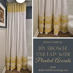 Bathroom Makeover Day 19 & 20: How To Make An Extra Long Shower Curtain With Pleated Ruffle Accents