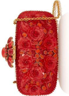 OSCAR DE LA RENTA Embellished silk-satin box clutch ht