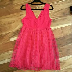 Francesca's Hot Pink Lace dress NWT Francesca's size medium. Lined. Absolutely beautiful but too big for me. Francesca's Collections Dresses