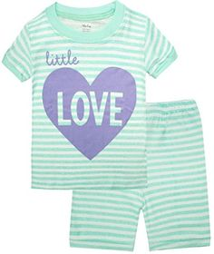 Girls Pajamas Children Clothes Stripe Kids Short Sets Size 2Y-7Y *** You can get additional details at