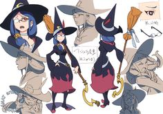 """artbooksnat: """" Little Witch Academia (リトル ウィッチ アカデミア) Full-color character designs for Little Witch Academia, illustrated by Yoh Yoshinari (吉成曜) were included in the March 2013 issue of Animestyle. Character Model Sheet, Character Poses, Character Modeling, Character Design References, Character Concept, Character Art, Concept Art, My Little Witch Academia, Animation News"""