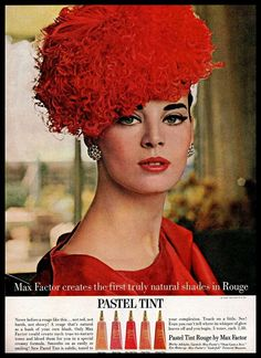 Find many great new & used options and get the best deals for 1963 Max Factor Vintage PRINT AD Pastel Tint Rouge Red Decorative Hat Model at the best online prices at eBay! Free shipping for many products!