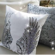 Handmade with love Angel wings appliqué Special sequin Decor Pillowcase 18 x 18 Choose your pillow color - Black or White Wings color - Gold or Silver Made with Black or White fabric and sequin Wings appliqué . I can make any color pillowcase . Custom orders welcome ★MYLASHDESIGN ©