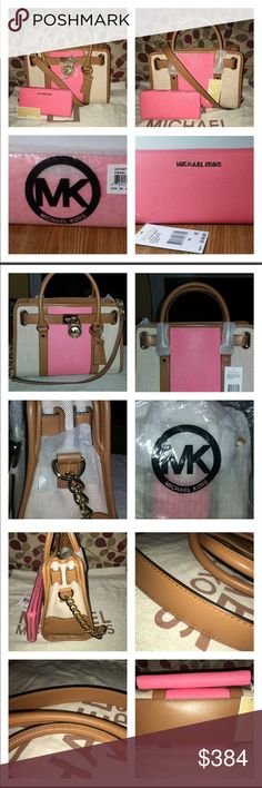 """NWT MK E/W Hamilton & Continental Wallet New Gorgeous Michael Kors Hamilton E/W Tote & Saffiano Continental Wallet in Coral, it's a Beautiful Set! The Striped Color Block Tote in Ecru & Coral is lined, has 1 zip, multiple slip pockets, key fob, tan rolled leather handles, drop is 5"""" leather attachable strap drop is 11"""" the bag measures 12.25 X 9  X 5 The beautiful Coral Wallet is a zip around with 8 card slots & 2 open slip pockets for cash/receipts with a middle zip close pocket for coins…"""