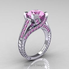 Classic 14K White Gold 3.0 Ct Light Pink Sapphire Engagement Ring R364-14KWGLPS | Art Masters Jewelry