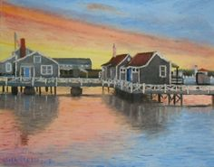 #Nantucket #Harbor #Sunset. 11 x 14 oil on canvas board. From a photo on the Nantucket Blackbook FB page, #painting #art