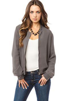 ShopSosie Style : Simpleness Gray Chiffon Bomber Jacket