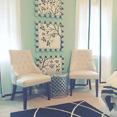 A DIY stenciled accent wall for a teens bedroom using the Large Tree and Bird Stencils.  http://www.cuttingedgestencils.com/tree-stencil.html?utm_source=JCG&utm_medium=Pinterest&utm_campaign=Large%20Tree%20%26%20Birds%20Stencils