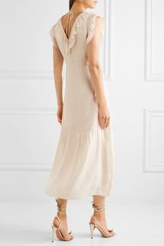 Vilshenko - Valencia Ruffled Silk-georgette Midi Dress - Cream - UK