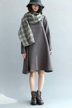 A-Style Simple Wool Dress, Long Sleeve Loose Dress Q5437