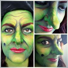Green halloween witch makeup facepaint inspired by the Wizard of Oz. By MUA Jasmin Johnston