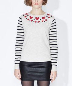 Another great find on #zulily! Oatmeal Folk Heart Sweater #zulilyfinds