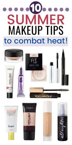 Summer Makeup Tips - 10 Ways to Sweat-Proof and Heat-Proof Your Makeup - - Makeup tips to keep your makeup in place all day in the hot summer! Sweat-proof and heat-proof your makeup this summer with these tips and recommendations. Makeup For Older Women, Makeup For Teens, Best Drugstore Makeup, Best Makeup Products, Beauty Products, Face Products, Sweat Proof Makeup, Summer Makeup Looks, Long Lasting Makeup