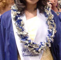 graduation gift--money lei @honeysuckle on the vine, photo tutorial included