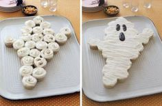 11 Halloween party treats: Making a ghose cake is super easy when you use store-bought cupcakes! Arrange in a ghost shape on a platter, spread white frosting over the whole thing, and add chocolate eyes and mouth. Best of all, nobody has to cut the cake. Guests can just grab a cupcake! | Living the Country Life | http://www.livingthecountrylife.com/country-life/food/11-halloween-party-treats/