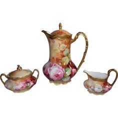 Wonderful Limoges Coffee / Chocolate Pot with Matching Sugar  Creamer Set  ~ Set Features French Tea Roses  ~ Listed Artist Bronssillon~ Completely