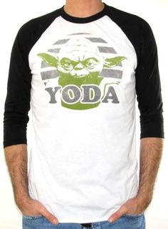 56d9834d2ef This Star Wars Yoda baseball jersey shirt shows a distressed light grey  background with a light green Yoda head screen printed on a circle and with  hi