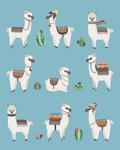 Alpaca & Cactus Poster 8 x 10 in 11 x 14 in by LittleUniverseShop Alpacas, Cactus Drawing, Cactus Art, Cactus Decor, Cactus Plants, Images Lama, Alpaca Drawing, Llama Arts, Cactus Illustration