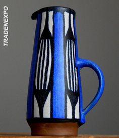 Vintage 1970's JUIST Keramik Vase A&W Schmidt-Tummeley German Pottery Fat Lava E