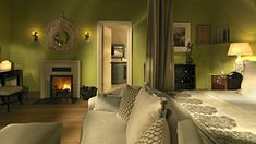 Green Bedroom Decoration Bed Fireplace