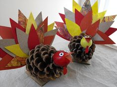 Growing Green Family Nature Club: Great Idea Number Two: Pinecone Crafts Pinecone Turkey, Pinecone Crafts Kids, Kids Fall Crafts, Pine Cone Crafts, Crafts For Boys, Holiday Crafts, Kids Diy, Holiday Ideas, Christmas Craft Fair