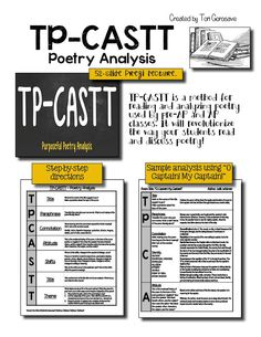 50% off for the next 24 hours!  If you are searching for a tried and true method to help your students analyze and understand poetry, then look no further!   TP-CASTT is a systematic method of poetry analysis that helps students access poetry and enjoy it. TP-CASTT stands for: title, paraphrase, connotation, attitude, shift, title, and theme.  A 52-slide Prezi and 4 PDF handouts walk students through the whole process!
