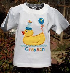 Appliqued Birthday Rubber Duck Personalized for Boys by lilshabebe, $18.95