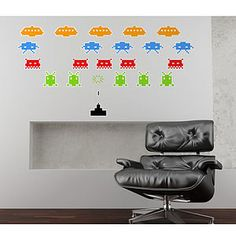 Space Invaders Wall Stickers for Sale at Bouf Wall Stickers, Wall Decals, Wall Art, Space Battles, Good Color Combinations, Custom Mirrors, Space Invaders, Childhood Days, Personalized Pillows