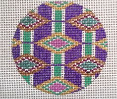 Beautiful Hand Painted HP Ornament Needlepoint Canvas 18 mesh