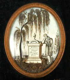 French Hair Art Mourning Scene. Entirely of Human Hair. Truly Incredible Detail. Circa 1780-1830.