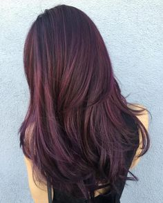 "Black Hair With Purple And Brown Balayage Give your purple red hair a dreamy, ethereal edge by wearing it with jewel-toned highlights. The glistening strands of color will look positively enchanting and give ""unicorn hair"" a whole new meaning."