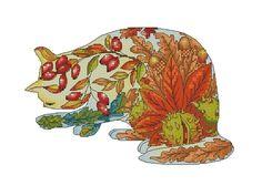 Counted Cross Stitch Autumn Cat by Myrea Pettit. Lena Lawson Needle Arts has fabulous cross stitch charts for sale.
