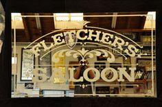 "Etched mirror that says ""Munoz Kitchen"" - Bar Ideen Etched Mirror, Etched Glass, Glass Etching, Saloon Decor, Western Saloon, Window Signage, Kitchen Post, Back Bar, Custom Mirrors"