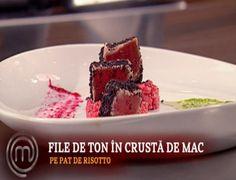 Reteta Moza Alexandra: File de ton in crusta de mac pe risotto cu sfecla - Foodstory.stirileprotv.ro