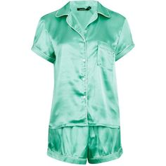Boohoo Eve Satin Short Sleeve Shirt and Short Set ($24) ❤ liked on Polyvore featuring intimates, sleepwear, pajamas, short sleeve pajama set, short pyjamas, satin short pajamas, short sleeve pajamas and satin pjs