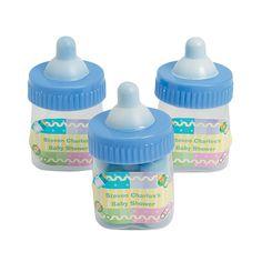 Personalized Blue Baby Bottle Containers - OrientalTrading.com