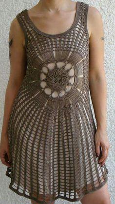 Crochet dress Creative Inspiration, My Favorite Things, Clothes, Dresses, Design, Fashion, Beach Kaftan, Crocheting Patterns, Flower