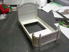 Dollhouse Miniature Furniture - Tutorials | 1 inch minis  Bed made from card stock & mat board